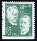 Wilhelm Wien and Alvar Gullstrand. SWEDEN - CIRCA 1971: stamp printed by Sweden, shows Wilhelm Wien and Alvar Gullstrand, circa 1971 Stock Photos