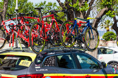 Wilier Triestina team car with bikes Royalty Free Stock Image