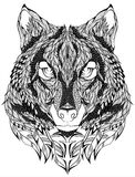 Wilk głowy tatuaż również zwrócić corel ilustracji wektora Obraz Stock