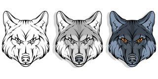 Wilk, odizolowywający na białych tle, colour ilustraci, stosownych jako logo lub drużyny maskotka, niebezpieczny lasowy drapieżni royalty ilustracja