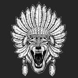 Wilka dzikiego zwierzęcia boho pióropuszu Psiego Tradycyjnego etnicznego indyjskiego Plemiennego szamanu kapeluszowy Ceremonialny ilustracji