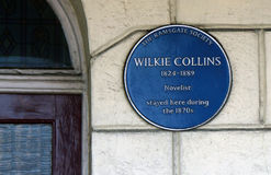 Wilkie Collins blue plaque Royalty Free Stock Images