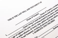 Will. Photo of a Last Will and Testament form royalty free stock photography