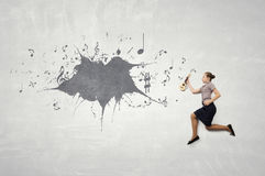 She will be famous musician . Mixed media Stock Photo