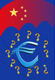 Will or can China save the Euro?. Chinese can halt the European debt crisis through rescue package and bailout funds vector illustration