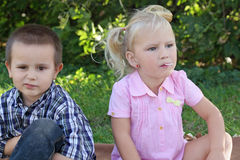 We will cope with it!. Outdoors portrait of two kids Stock Photos