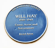 Will Hay blue plaque. Blue plaque for comic actor and astronomer Will Hay in Ramsgate Royalty Free Stock Images