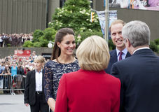 Will and Kate Greeting Harpers on Visit to Canadai Stock Images