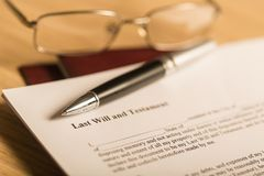 Last Will and Testament Document with Pen and stock photo