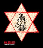 We Will Never Forget. Holocaust Remembrance Day. Yellow Star David. International Day of Fascist Concentration Camps and Ghetto Pr. Isoners Liberation card whith stock illustration