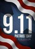 We Will Never Forget. 9 11 Patriot Day background, American Flag stripes background. Patriot Day September 11, 2001. Poster Template, we will never forget Stock Photography