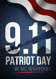We Will Never Forget. 9 11 Patriot Day background, American Flag stripes background. Patriot Day September 11, 2001. Poster Template, we will never forget Royalty Free Stock Photo