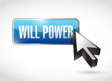 Will power blue button illustration design. Over a white background Stock Photography