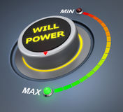 Will power. Button position. Concept image for illustration of  in the maximum position , 3d rendering Stock Images