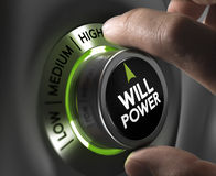 Will Power Concept. Fingers turning a willpower button and setting it on the highest position, green tones. Illustration of determination or motivation concept Stock Photos
