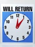Will Return Sign stock photos