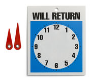 Will Return Sign Royalty Free Stock Photos