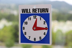 Will Return Sign Stock Photography