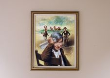 Will Rogers oil on canvas painting, Claremore, Oklahoma. Pictured is a painting of Will Rogers by James E. Seward in the Will Rogers Memorial Museum in Claremore Royalty Free Stock Photos