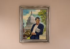 Will Rogers oil on canvas painting, Claremore, Oklahoma. Pictured is a painting of Will Rogers by Amos Sewell in the Will Rogers Memorial Museum in Claremore Royalty Free Stock Photos