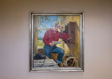 Will Rogers oil on canvas painting, Claremore, Oklahoma. Pictured is a painting of Will Rogers by Peter Stevens in the Will Rogers Memorial Museum in Claremore Royalty Free Stock Image