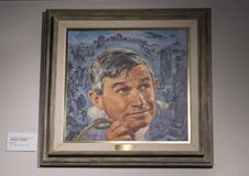 Will Rogers painting by Charles Banks Wilson, Claremore, Oklahoma. Pictured is a Centennial Portrait of Will Rogers by Charles Banks Wilson in the Will Rogers Royalty Free Stock Photography