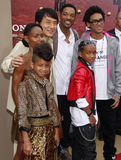 Will Smith, Jada Pinkett Smith, Willow Smith, Jackie Chan och Jaden Smith Arkivbilder