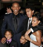 Will Smith, Jada Pinkett Smith, Willow Smith och Jaden Smith Arkivbilder