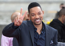 Will Smith. MOSCOW, RUSSIA - MAY 27: Will Smith shows sign victory during a photocall for the film After Earth on May 27, 2013 in Moscow Stock Photos