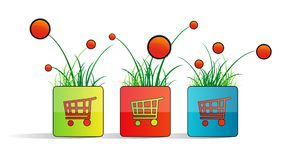Will square with shopping carts, grass and flowers Stock Photos