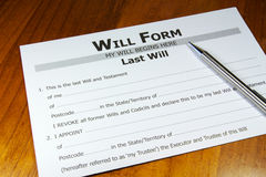Will and Testament Stock Photo