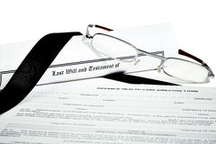Will and Testament with Glasses Pen and Income Tax Return Stock Photography