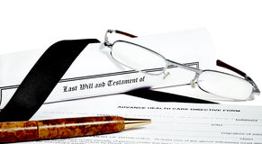 Will and Testament with Glasses Pen and Income Tax Return Royalty Free Stock Photos