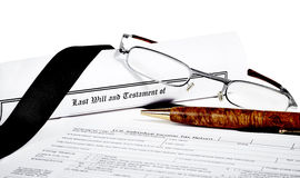 Will and Testament with Glasses and Pen Stock Photography