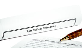 Will and Testament with Tax Return Stock Photos