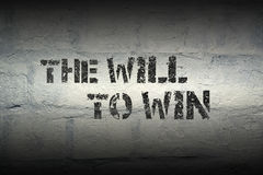 Will to win gr. Will to win phrase stencil print on the grunge white brick wal Stock Photos