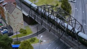 Will travel along the railway bridge, a breadboard model on a scale. 1920x1080. full hd. Will travel along the railway bridge, a breadboard model on a scale stock video