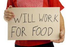 Will work for food. Royalty Free Stock Photo