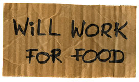Will work for food cardboard sign. Will work for food -  crumpled cardboard sign, isolated on white Royalty Free Stock Photo