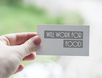 Will work for food Stock Photo