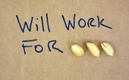 Will work for peanuts Stock Images