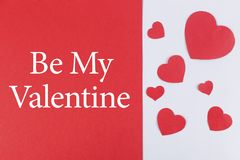 Will you be my valentine inscription on dual colored background stock images