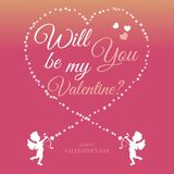 Will you be my valentine neon color flat card vector illustration