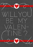 Will you be my Valentine red hearts in love Valentine`s day card. Will you be my Valentine red hearts in love lovely sewed romantic Valentines Day card on gray royalty free illustration