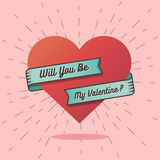 Will you be my valentine text with a big heart. Royalty Free Stock Photo