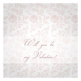 Will you be my Valentine? Valentines Day decorative background. Pink post card Stock Image