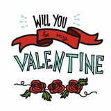 Will you be my valentine word and rose cartoon vector illustration vector illustration