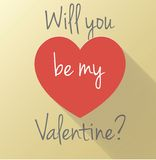 Will you be. St. Valentine day postcard with paper design Stock Photos