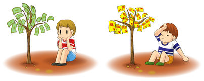 Will you grow an income or a debt tree? Royalty Free Stock Image