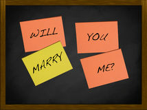 Will you marry me. Notes on a blackboard Royalty Free Stock Images